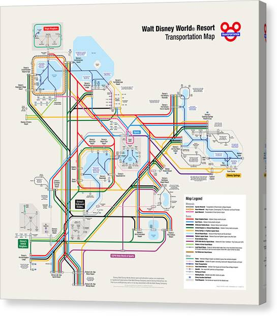 Map Canvas Print - Walt Disney World Resort Transportation Map by Arthur De Wolf