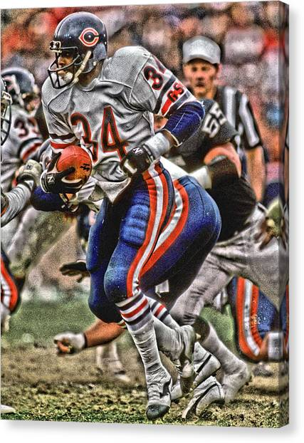 Walter Payton Canvas Print - Walter Payton Chicago Bears Art 5 by Joe Hamilton