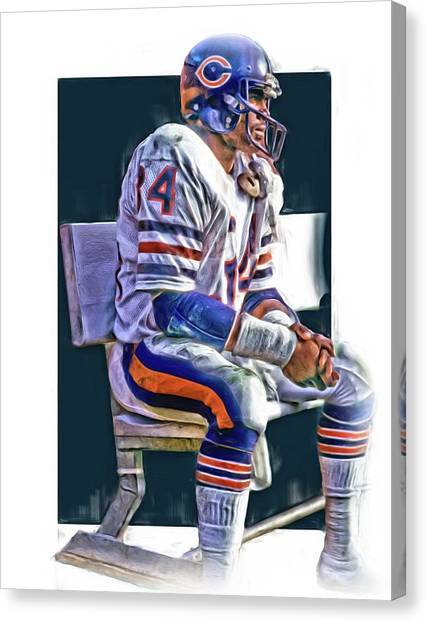 Walter Payton Canvas Print - Walter Payton Chicago Bears Oil Art by Joe Hamilton