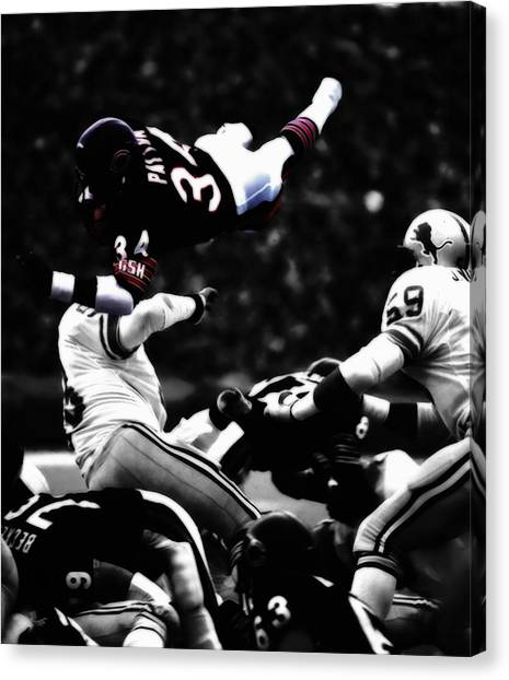 Barry Sanders Canvas Print - Walter Payton In Flight by Brian Reaves
