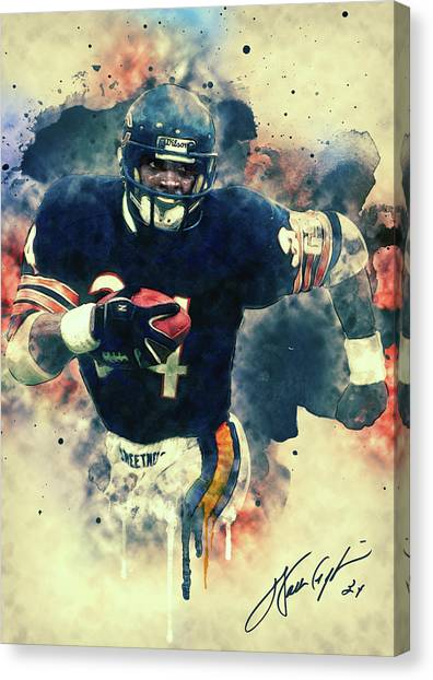 Chicago Bears Canvas Print - Walter Payton by Taylan Apukovska