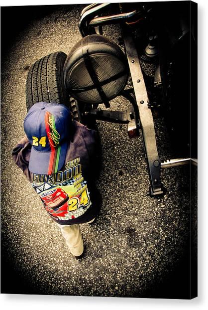 Racecar Drivers Canvas Print - Wanna Test Drive? by Jessica Brawley