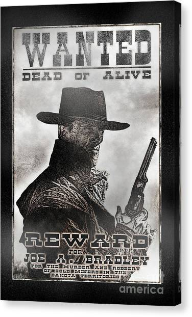 Canvas Print featuring the photograph Wanted Poster Notorious Outlaw by Brad Allen Fine Art