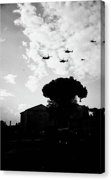 War Helicopters Over The Imperial Fora Canvas Print
