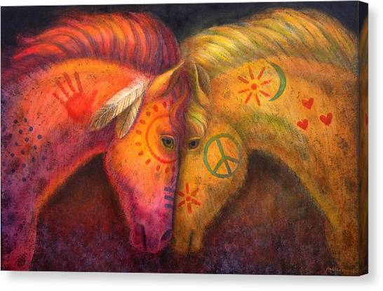 War Horse Canvas Print - War Horse And Peace Horse by Sue Halstenberg