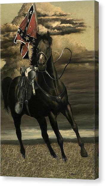 Black Stallion Canvas Print - War Horse by Ron Lesser