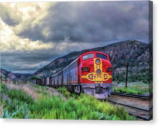 Freight Trains Canvas Print - Warbonnet F7 Santa Fe Locomotive by Christopher Arndt