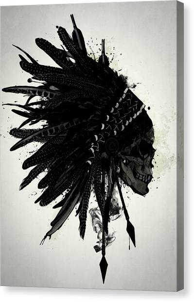 Indians Canvas Print - Warbonnet Skull by Nicklas Gustafsson