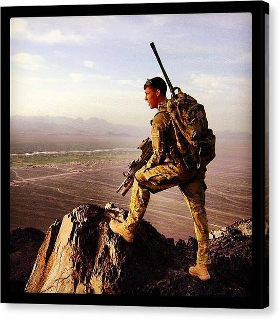 Bases Canvas Print - Warfighter In Afghanistan by Cody Barnhart