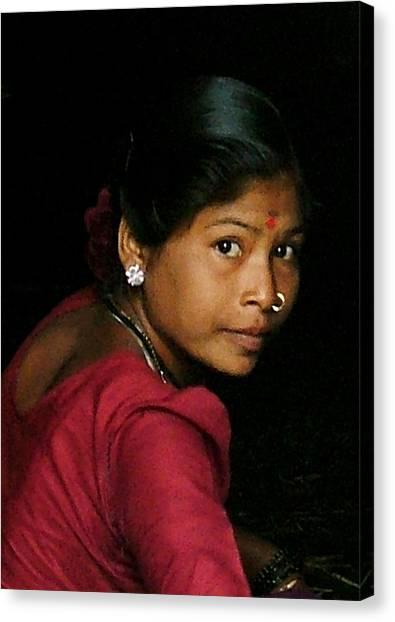 Warli Woman Canvas Print by Pramod Bansode