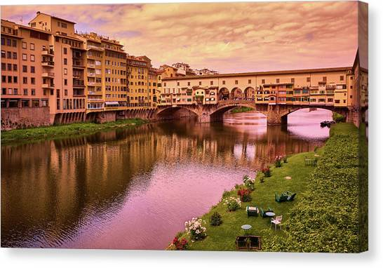 Warm Colors Surround Ponte Vecchio Canvas Print