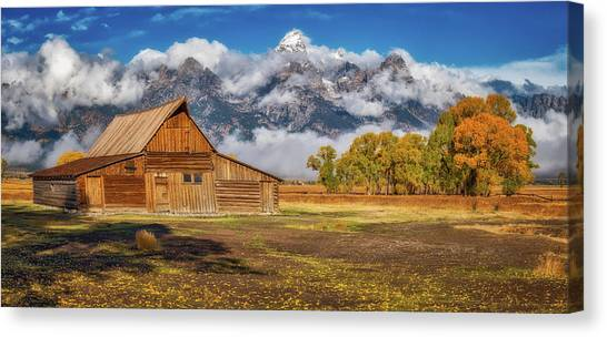 Teton Canvas Print - Warm Morning Light In The Tetons by Darren White