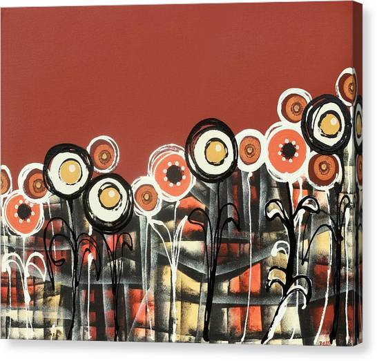 Warm Red Flowers Canvas Print
