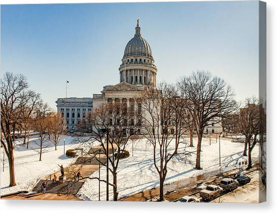 Capitol Building Canvas Print - Warm Winter Capitol by Todd Klassy