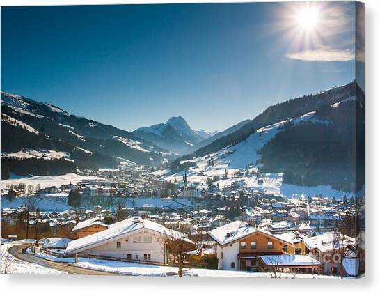 Warm Winter Day In Kirchberg Town Of Austria Canvas Print