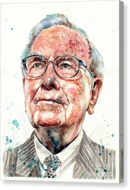 Museums Canvas Print - Warren Buffett Portrait by Suzann's Art