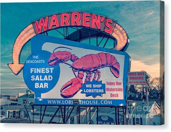 New Hampshire Canvas Print - Warrens Lobster House Neon Sign Kittery Maine by Edward Fielding