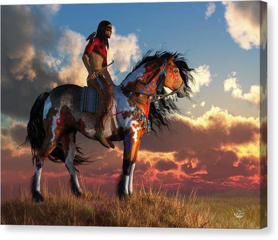 Warrior And War Horse Canvas Print