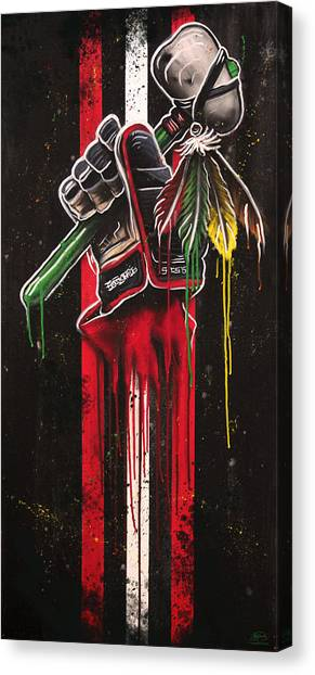 Hawks Canvas Print - Warrior Glove On Black by Michael Figueroa