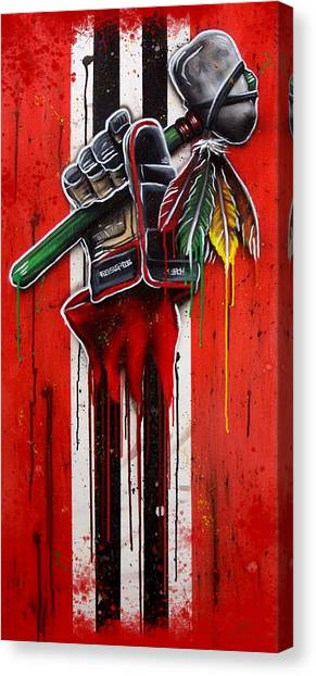Hockey Art Canvas Print - Warrior Glove On Red by Michael T Figueroa