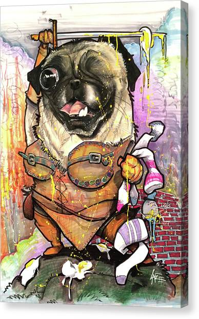 Pug Canvas Print - Warrior Pug by John LaFree