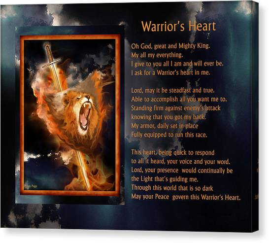 Warrior's Heart Poetry Canvas Print