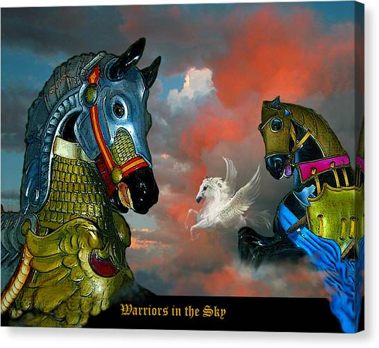 Warriors In The Sky Canvas Print by Bette Gray