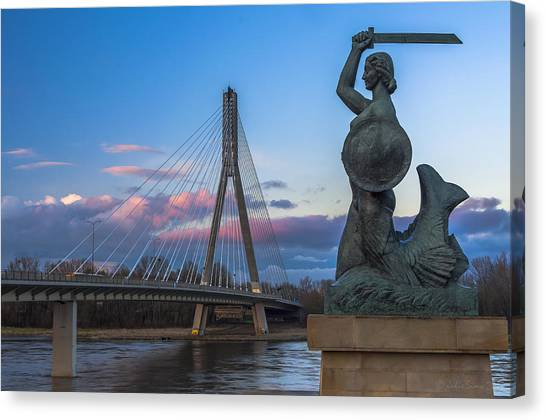 Warsaw Mermaid And Swiatokrzyski Bridge On Vistula Canvas Print