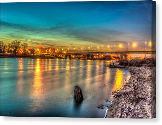 Warsaw Reflected By Vistula River Canvas Print