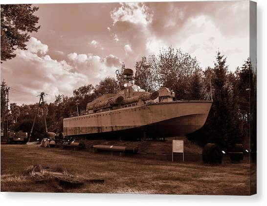 Canvas Print featuring the photograph Warship by Tgchan