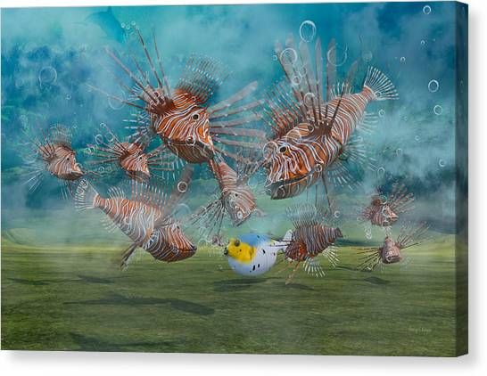 Puffer Canvas Print - Was It Something I Said by Betsy Knapp