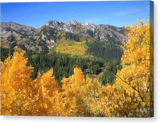 Big Cottonwood Canyon Canvas Print - Wasatch Autumn View by Donna Kennedy