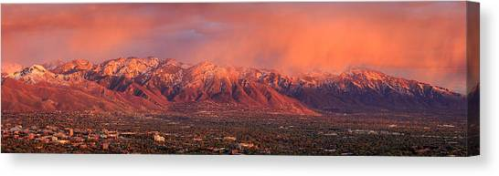 University Of Utah Canvas Print - Wasatch Sunset From Ensign Peak. by Johnny Adolphson