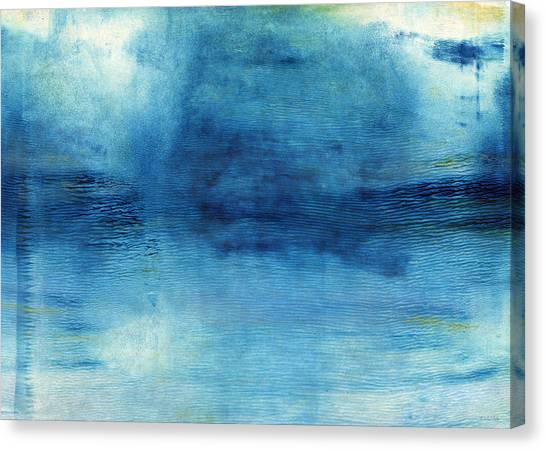 Blue Sky Canvas Print - Wash Away- Abstract Art By Linda Woods by Linda Woods