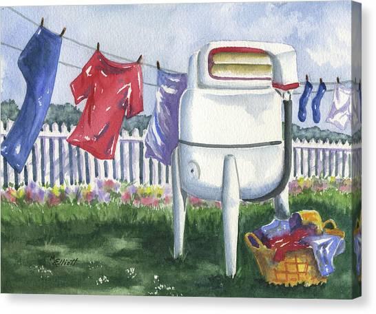 Clothes Washing Canvas Print - Wash Day Blues by Marsha Elliott
