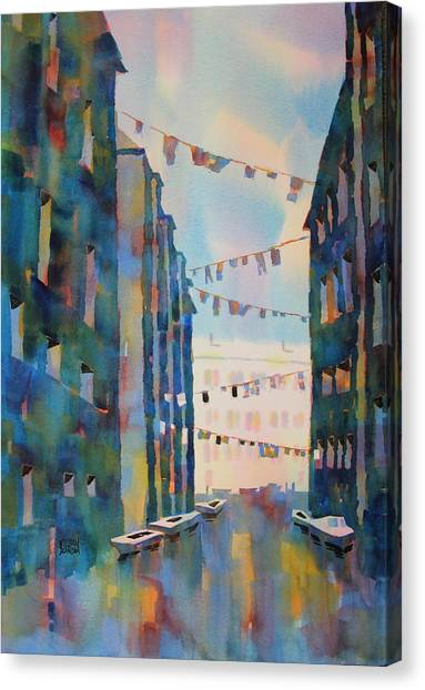 Wash Day In Venice Italy Canvas Print