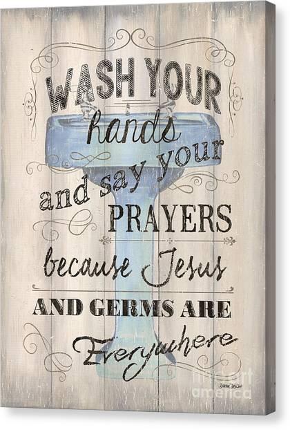 Luxury Canvas Print - Wash Your Hands by Debbie DeWitt