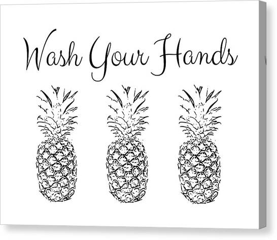 Hands Canvas Print - Wash Your Hands Pineapples- Art By Linda Woods by Linda Woods