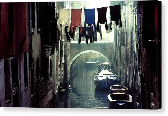 Washday In Venice Italy Canvas Print