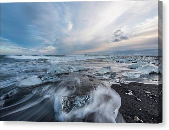 Washed Up Ice Sunset Canvas Print