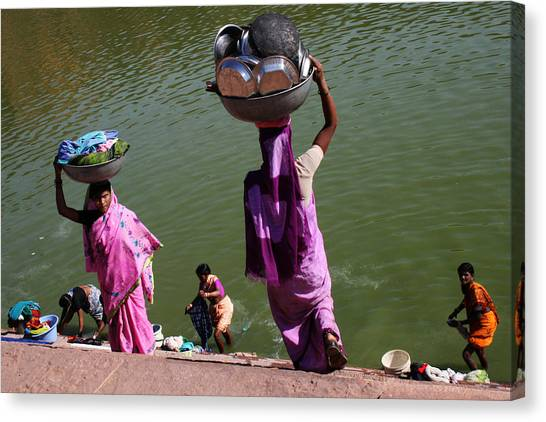Washing Day Sari Clad Women Ghat Steps India Canvas Print by Jane McDougall