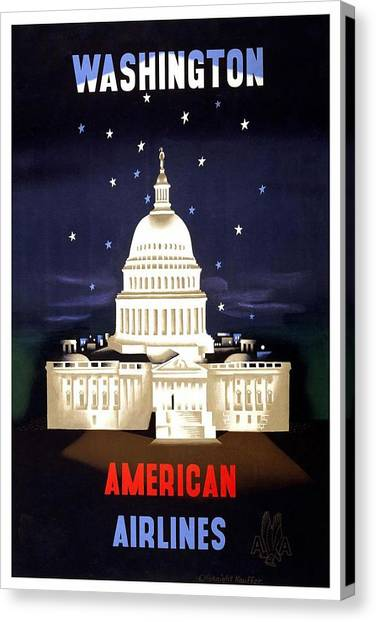 Capitol Building Canvas Print - Washington, American Airlines - Retro Travel Poster - Vintage Poster by Studio Grafiikka