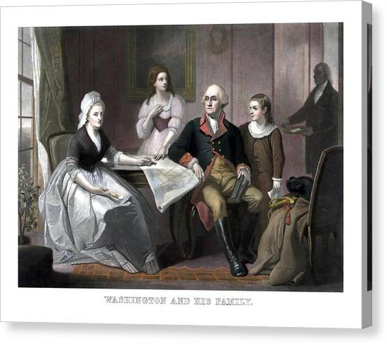 George Washington Canvas Print - Washington And His Family by War Is Hell Store