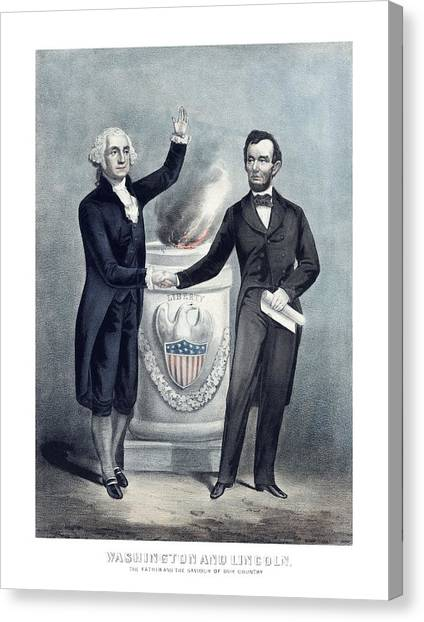 George Washington Canvas Print - Washington And Lincoln by War Is Hell Store