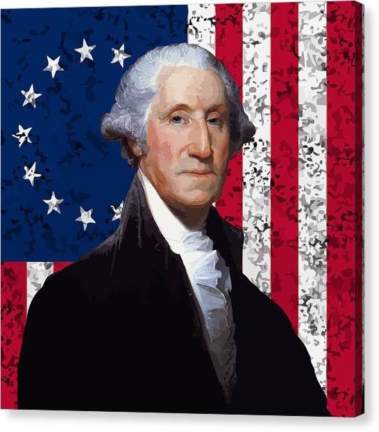 President Canvas Print - Washington And The American Flag by War Is Hell Store