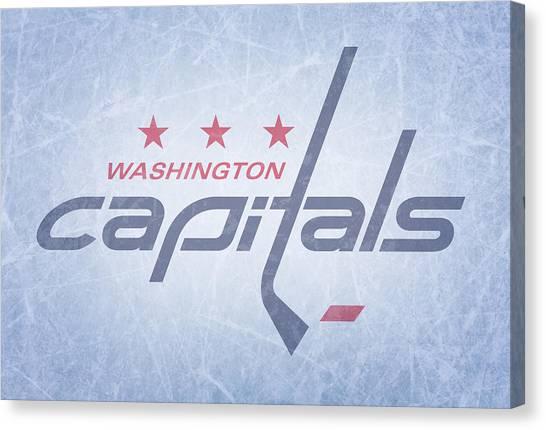 Washington Capitals Canvas Print - Washington Capitals Vintage Hockey At Center Ice by Design Turnpike