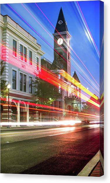 University Of Arkansas Canvas Print - Washington County Courthouse At Night Fayetteville Arkansas by Gregory Ballos
