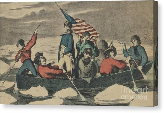New England Revolution Canvas Print - Washington Crossing The Delaware On The Evening Previous To The Battle Of Trenton by Currier and Ives