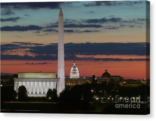 Washington Monument Canvas Print - Washington Dc Landmarks At Sunrise I by Clarence Holmes