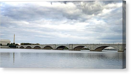 Washington Dc Memorial Bridge Panorama Canvas Print by Brendan Reals